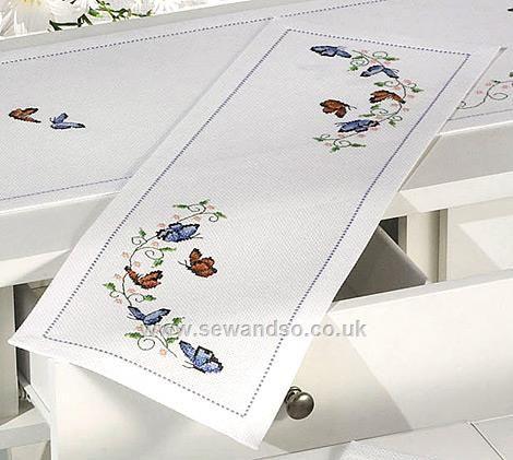 Small Butterflies Table Runner Cross Stitch Kit