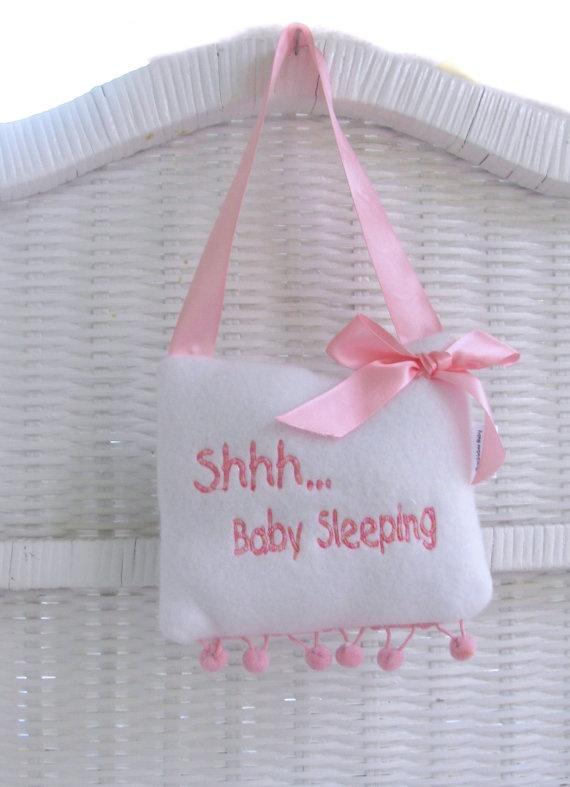 Baby Sleeping Door Hanger Pillow /Handmade  by thebebeboutique, $15.00