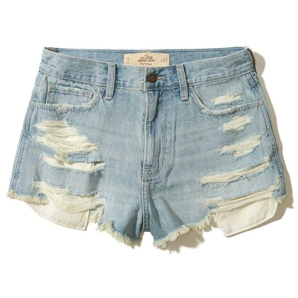 Hollister High-Rise Denim Vintage Shorts ($15) ❤ liked on Polyvore featuring shorts, ripped medium wash, high-waisted denim shorts, floral shorts, high rise shorts, frayed denim shorts and distressed high waisted shorts
