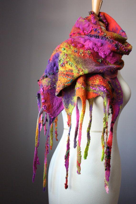 Nuno felted fashion scarf wool silk OOAK