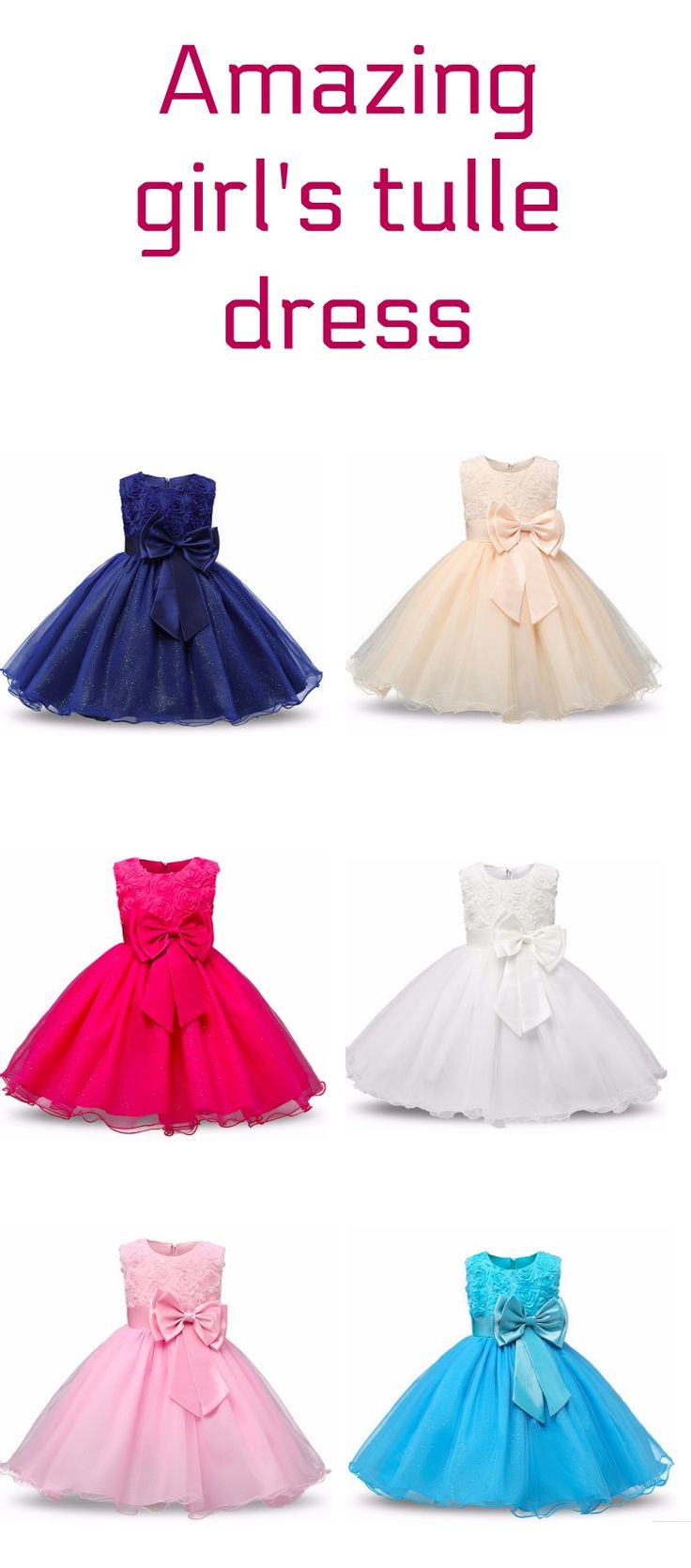 Amazing girl's party dress with tulle skirt, available in 8 colours; perfect for birthday parties, wedding, holiday parties (#affiliate)