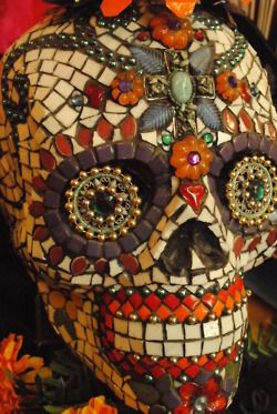 """mosaic candy skull...I have painted these on glass..older generation hate them younger generation love em..they are macabre but without getting to freaky, the odd one of these in thre right place is a real """"marmite"""" converstaion peice.."""