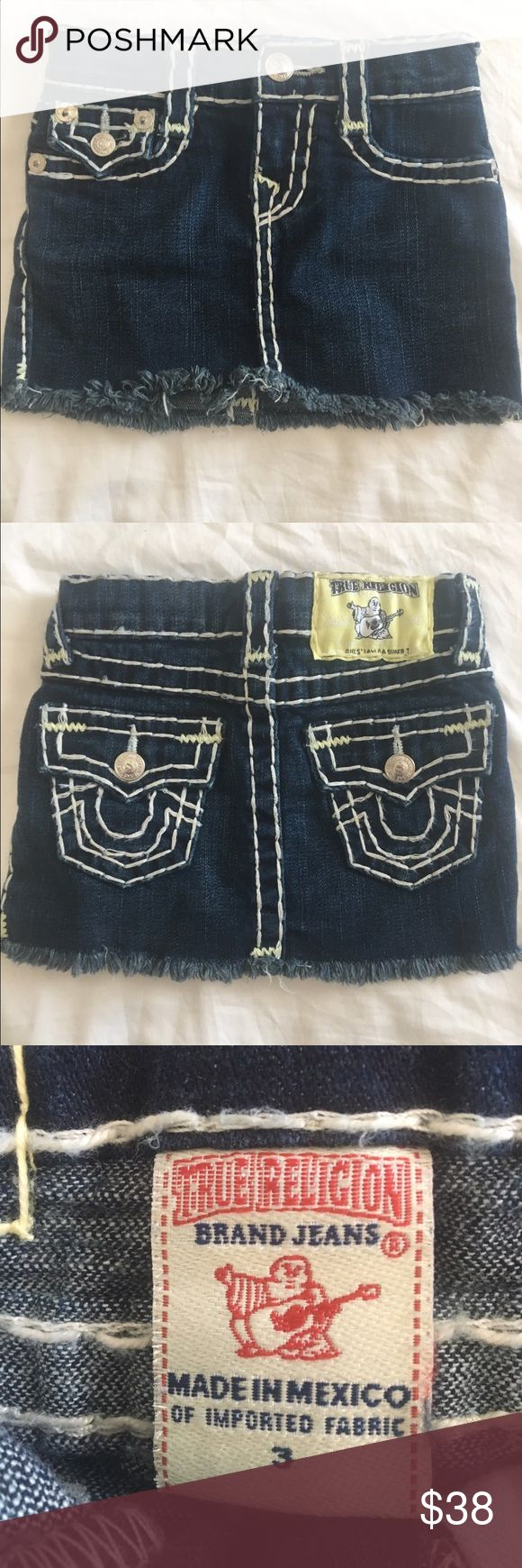 Lil girl True religion jeans skirt Band new toddler girl blue jean shirt with white Stitchen True Religion Bottoms Skirts