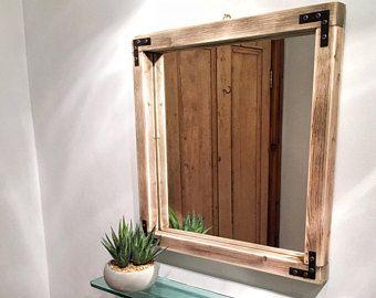 Square Farmhouse Thin Frame Pallet Wood Rustic Walnut Mirror