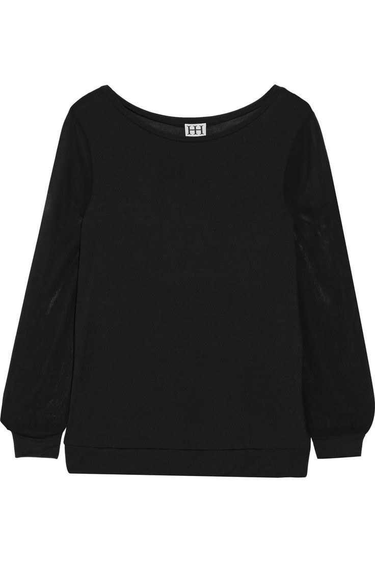 HAUTE HIPPIE Chiffon-paneled modal-jersey top. #hautehippie #cloth #top