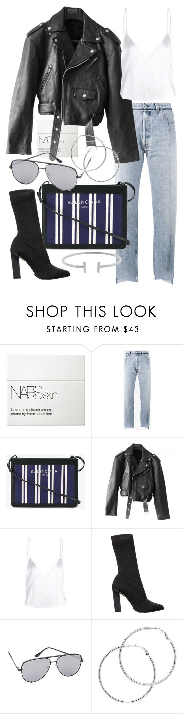 """""""Untitled #21155"""" by florencia95 ❤ liked on Polyvore featuring NARS Cosmetics, Vetements, Balenciaga, Jean-Paul Gaultier, Calvin Klein Collection, Quay, Melissa Odabash and Humble Chic"""
