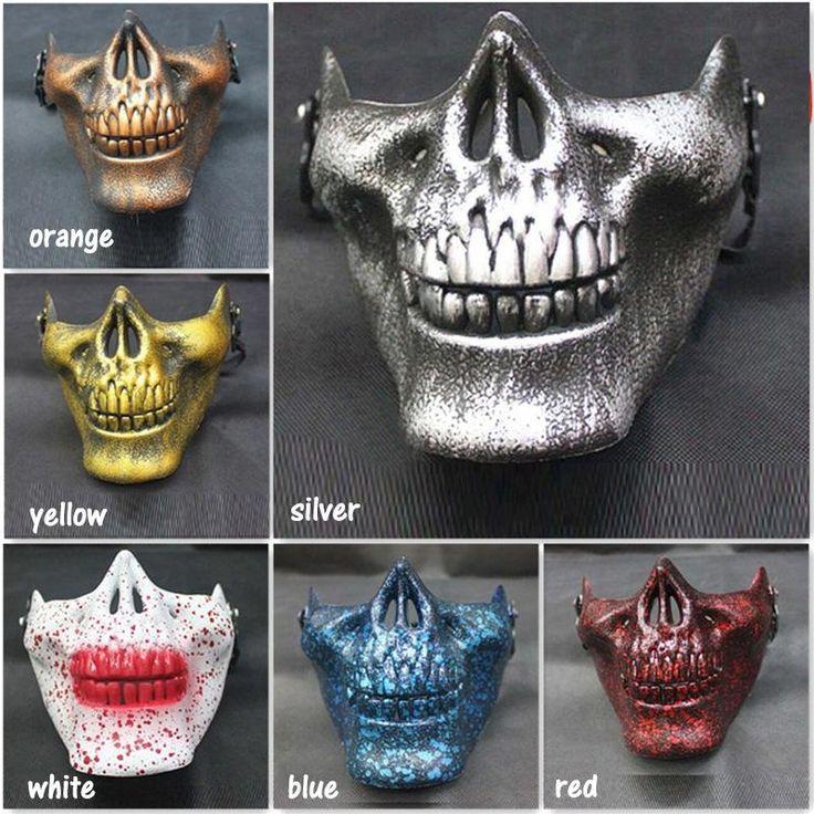 Горячая Скелет Маски Пол-Лица Реальных Боевых Воин Маски Хэллоуин страшные маски По Всему Миру