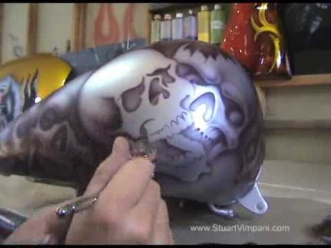 ▶ how to airbrush skulls with airbrushing stencils - YouTube