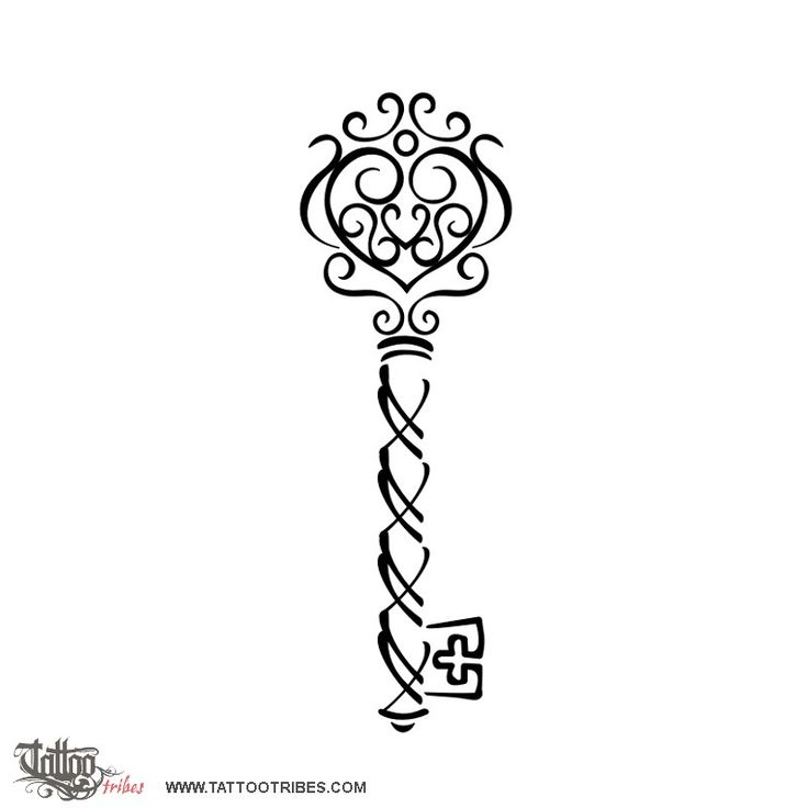 Skeleton key  Pamela requested this tattoo of an old skeleton key, black and white and small sized The upper part of the key had to be enriched with swirls including a heart.  http://www.tattootribes.com/index.php?newlang=English=6389