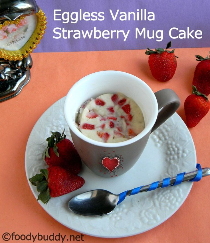 ... vanilla strawberry mug cake...single serving mug cake in microwave