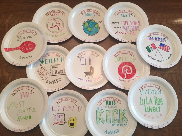 Paper plate awards for school paraprofessional staff