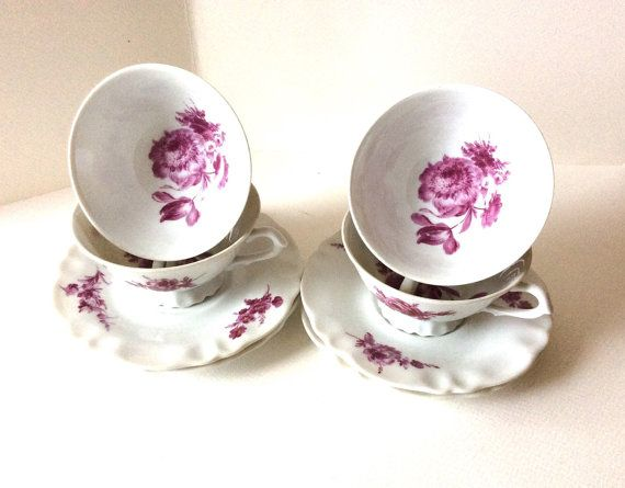 Antique Limoges 4 tea cups and saucers by SouthofFranceFinds