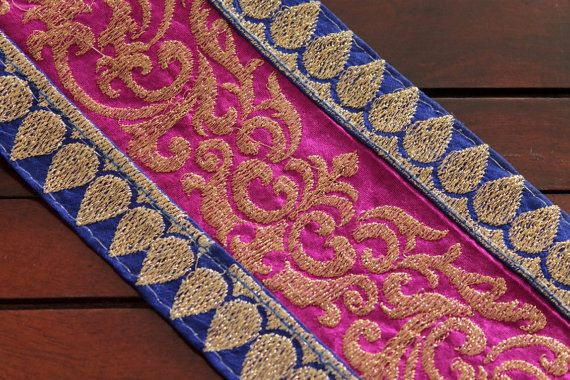 1 Yd-Pink & Blue Brocade Fabric Trim-Sari by ArtsyCraftsyShoppe