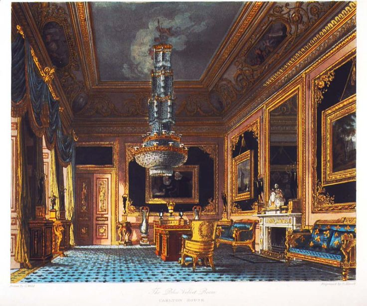 "Carlton House, the Blue Velvet Room. From ""The History of the Royal Residences"" by William Henry Pyne,  1819"
