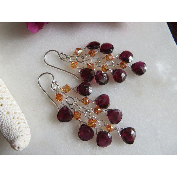Garnet Earrings, Garnet Gemstone Earrings, Swarovski Earrings,... ($26) ❤ liked on Polyvore featuring jewelry and earrings