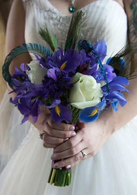 Peacock Themed Bridal Bouquet With Purple Iris White Roses And Purple Statis Made By Whole