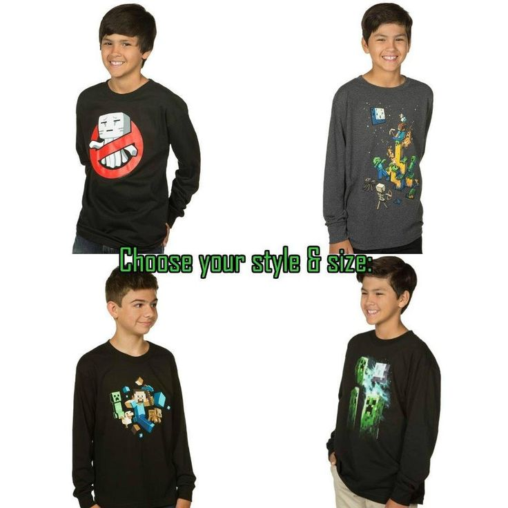 Minecraft Boys Youth Long Sleeve T Shirt Tee - Priced to Clear