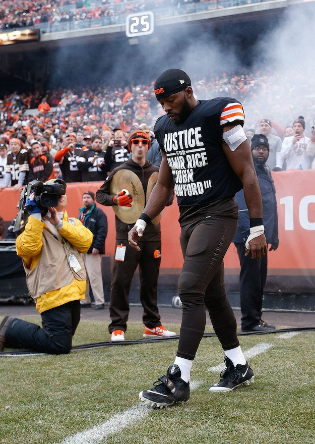 """On Sunday, Cleveland Browns wide receiver Andrew Hawkins walked onto the field wearing a black shirt over his jersey in protest of recent Ohio police shootings that read, """"Justice For Tamir Rice And John Crawford III.""""   Cleveland Police Say No Apology Is Necessary From Andrew Hawkins For """"Justice For Tamir Rice"""" Shirt - BuzzFeed News"""