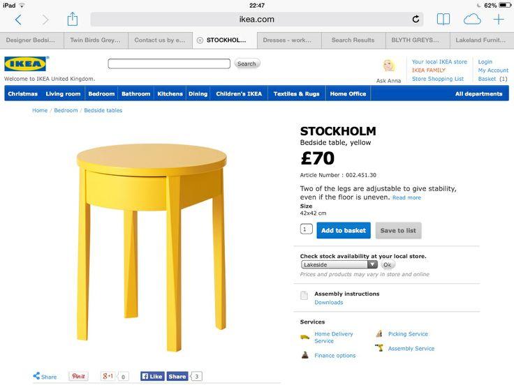 Ikea yellow bedside table