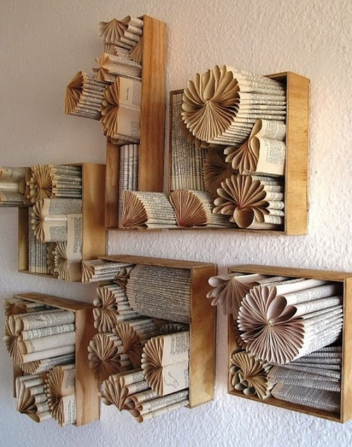 Paper display. How fun to add to a book shelf!