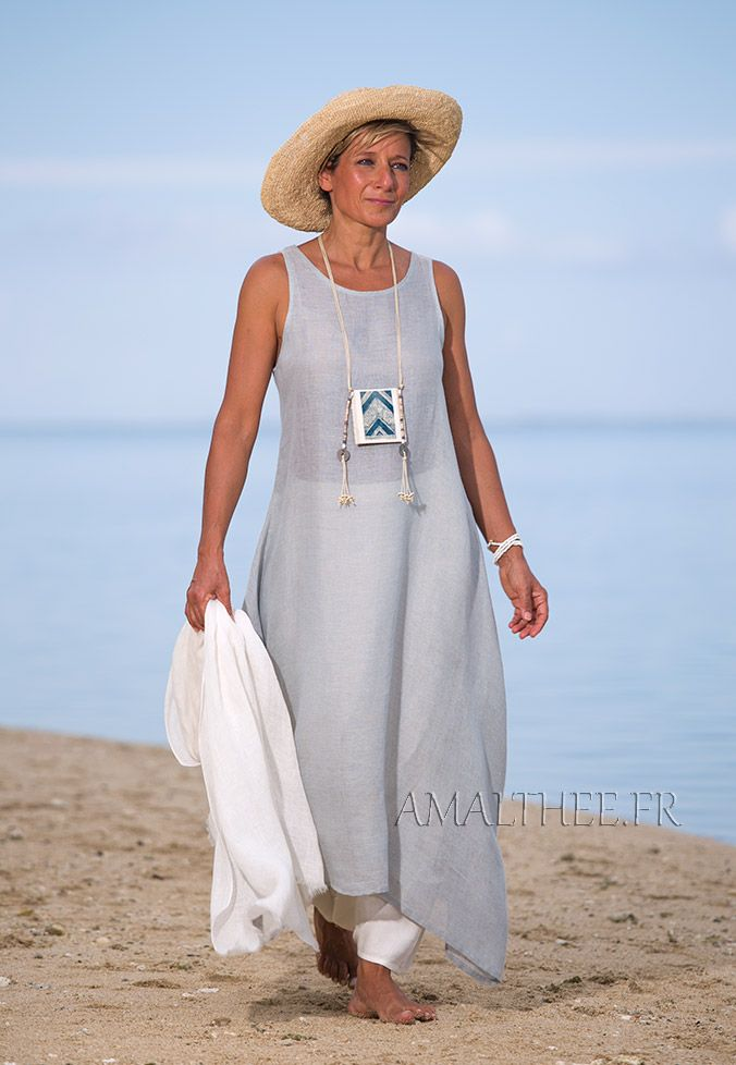 Blue linen gauze tunic with an off white harem-pant -:- AMALTHEE -:- n° 9