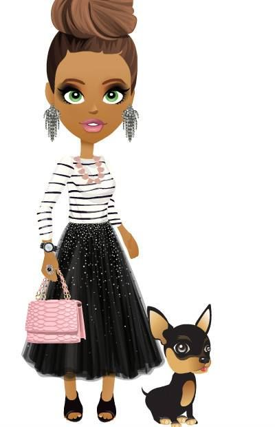 1 Maglietta a strisce da marinaio  2 Sparkly black skirt  3 Stivaletti fascianti  4 Stone necklace  5 Orecchini di strass  6 Black leather watch  7 Anello con perla nera  8 Borsetta pitonata con catene