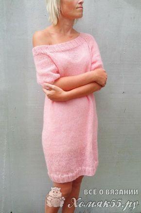 Вязаное платье туника спицами