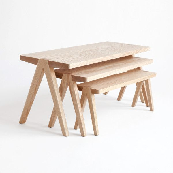 "Summit Nesting Tables by Moving Mountains. Inspired by Mies Van der Rohe's quote, ""An interesting plainness is the most difficult and precious thing to achieve."""