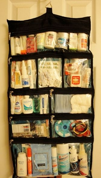 This is a MUST-HAVE for trips with kids...All those little travel-sized bottles organized and in one place! First aid, meds, dental care, sunblock, sewing kit, hair care, etc... Fits flat in a suitcase, conveniently hangs on a towel bar, a breeze to clean, and the clear pockets make everything quick and easy to find...I keep mine stocked and ready to go year-round! The Container Store only $14.99!