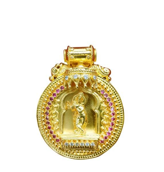 10 best pendant 1gram gold plated images on pinterest lord buy krishna pendant online from devotionalstore a round beautiful pendant with lavender and white coloured stones adorning krishna in the middle is a mozeypictures Choice Image
