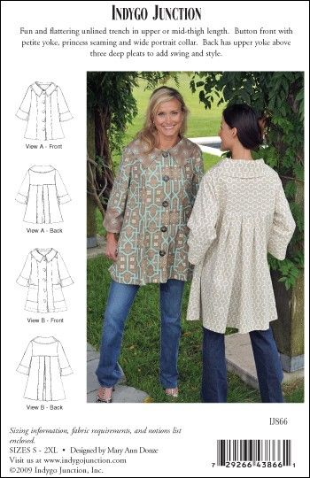 Midtown Trench – IJ866 sewing pattern from IndygoJunction.com