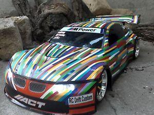 RC-Karosse-1-10-BMW-M3-GT2-Multicolor-Kuenstlerauto-LED-Lichtanlage-Tamiya-HPI