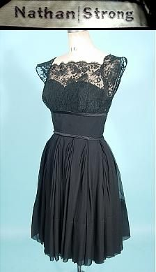 1950's NATHAN STRONG Black Silk Chiffon Dress with Lace Empire Bodice and Cap Sleeves!