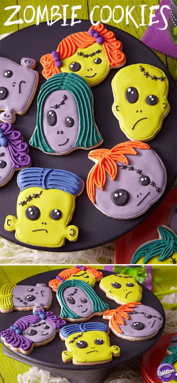 Eat their brains! These cookies give any Halloween party a family-fiendish tone! The ghastly green, gray, purple and orange shades are easy to achieve using the Wilton Color Right Performance Color System.