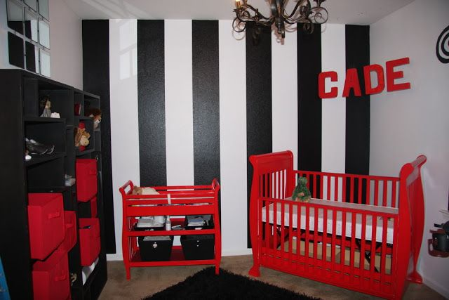 black white red baby nursery.. chevron instead of stripe on the wall
