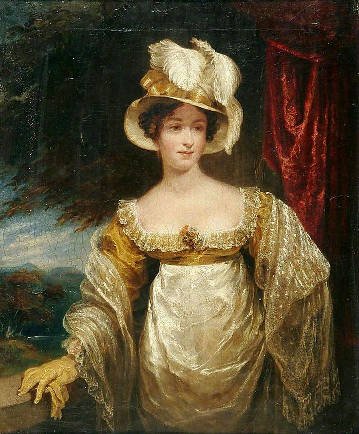 1800s Joseph Clover - Portrait of a Lady with an Ostrich Plume Hat
