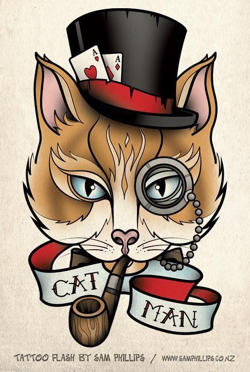 Cat Portrait Tattoo | Cat Portrait Tattoo Sam Phillips Artist Illustrator Graphic