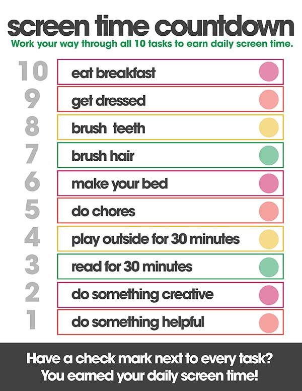 picture regarding Screen Time Rules Printable named Show Year Countdown 10 Greenback Do it yourself Little ones routine