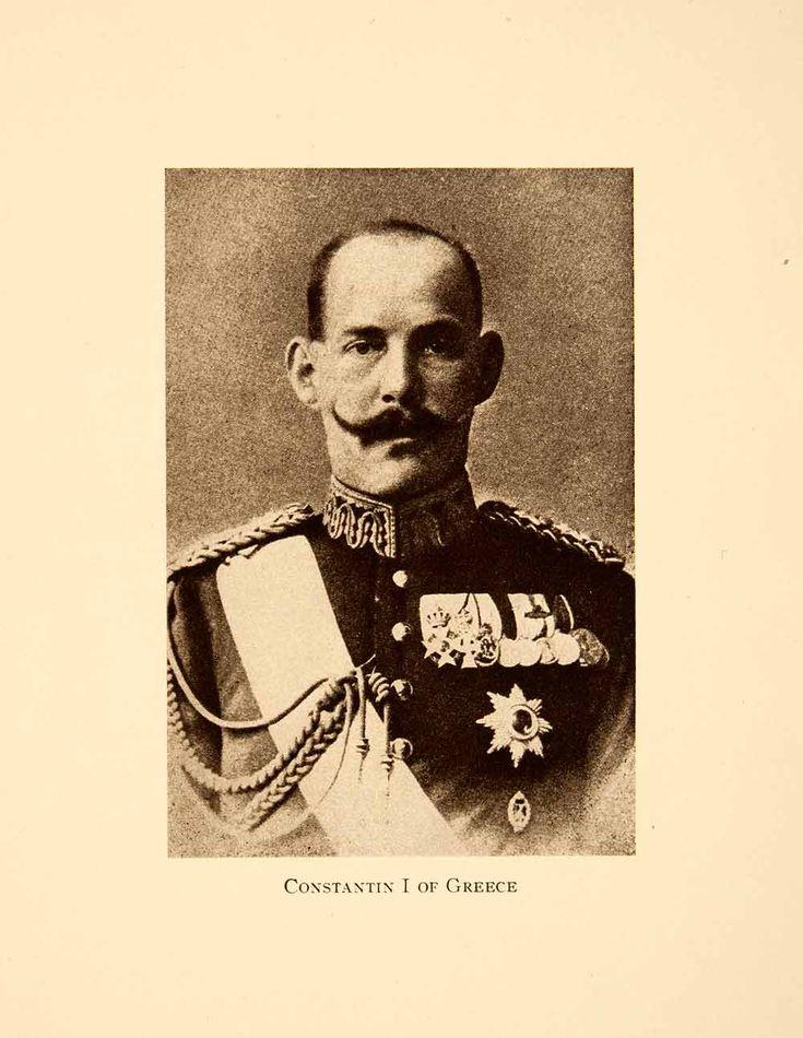 King Constantine Greece Commander Hellenic Army Greco-Turkish War  1918  8 x 11 cm halftone print