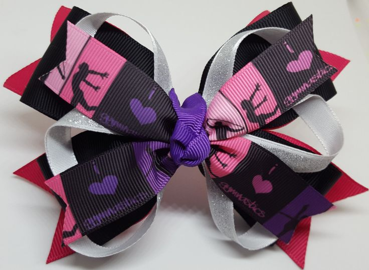 GYMNASTICS Hair Bow - Gymnastics pony tail - Custom Team Hair Bow - Hair Bows for Gymnastics Teams - Gymnast Christmas Gift