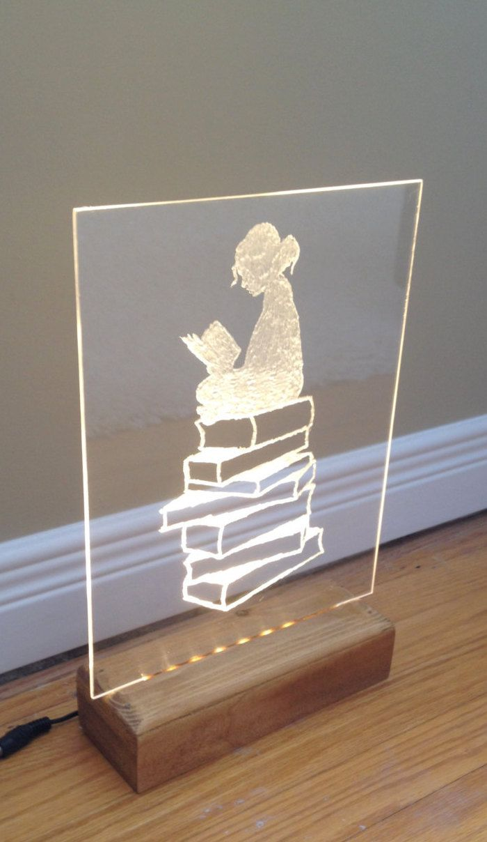 Girl Reading a Book LED Warm White Handmade Etching on Clear Acrylic Poplar and Pine Wood Base stained in Golden Honey Oak Satin Finish LED Light LED Etching Made in Canada Handmade Etching Acrylic LED Sign Man Cave LED LED housewares LED Company Logo Logo Sign Light Promotional Display Etching and Engrave Custom Electric Sign dailyetsysales 49.99 USD #goriani