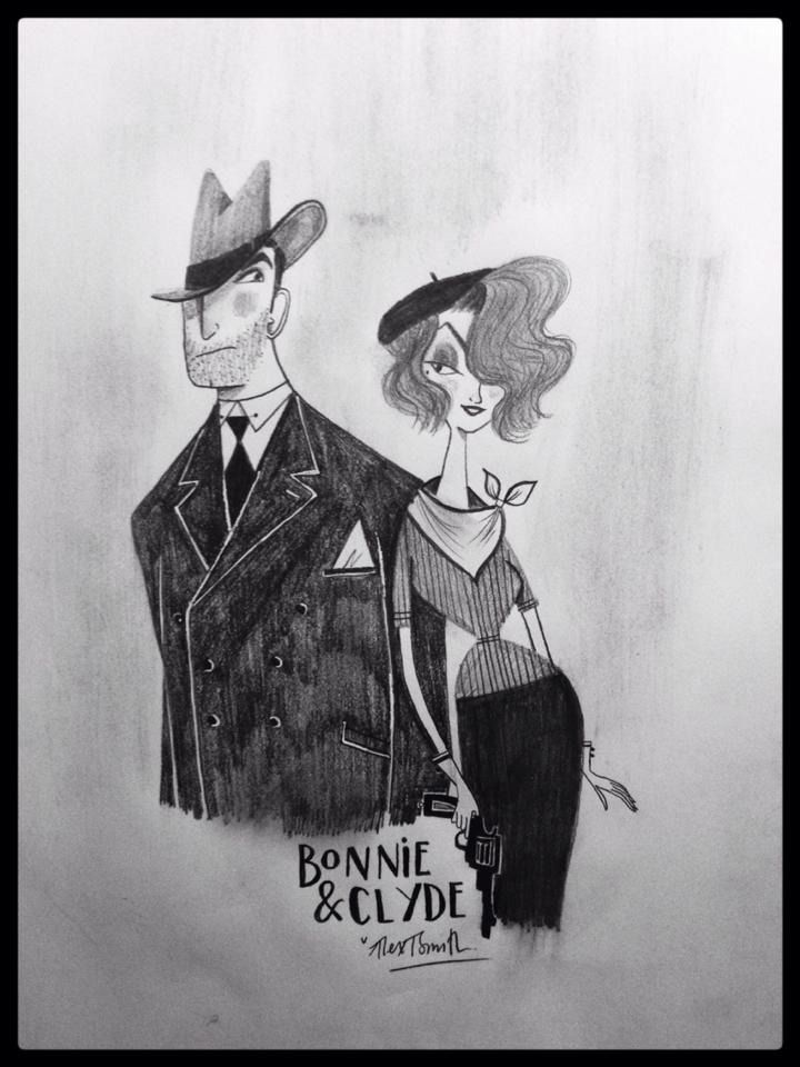 Bonnie and Clyde for @Sketch_Dailies on Twitter