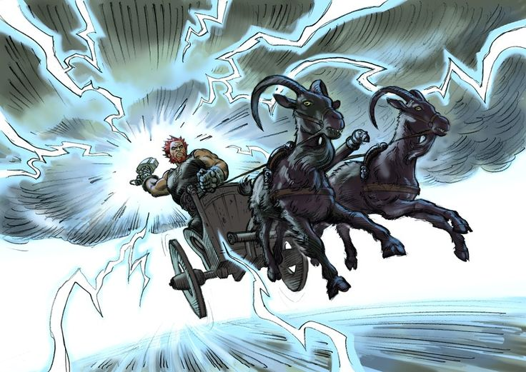Thor eller Tor (norrønt: Þórr, angelsaksisk: Þunor, oldhøjtysk: Donar) i nordisk mytologi Sif's ægtemand, og var tordenguden i den germanske og nordiske mytologi.Tordenvejr opstår, når Thor kører over himlen i sin vogn trukket af gedebukkene Tandgnost og Tandgrisner og kaster sin hammer, Mjølner. (Tegnet af Christian Højgaard)