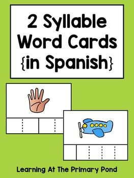 Spanish Syllables Practice with 2 Syllable Words Palabras de 2 slabas  Bilingual and Dual