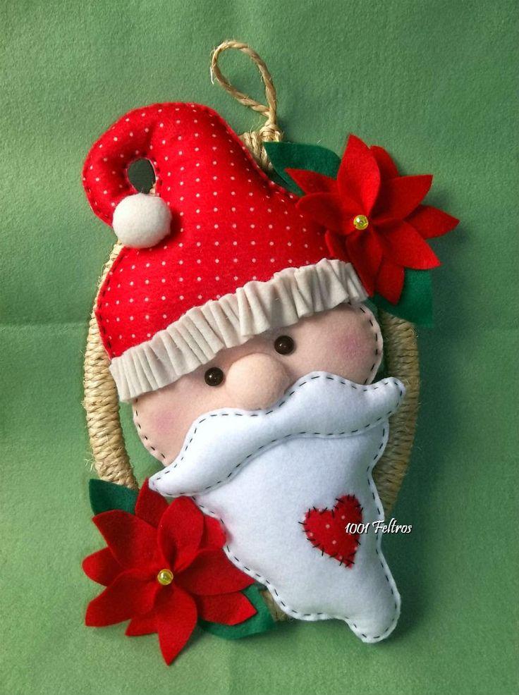 Guirlanda de Natal estilo rústico com carinha do Papai Noel!! Fofas, anunciam a chegada do Natal enfeitando a porta de casa. ...