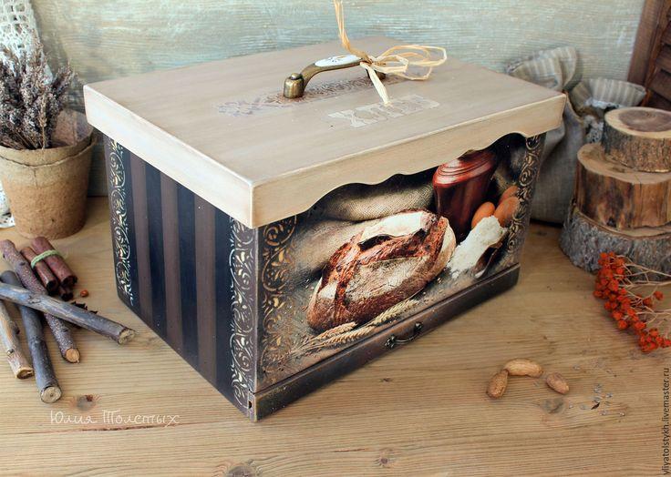"""Купить Хлебница """"Каравай"""" - коричневый, хлебница декупаж, хлебница из дерева, деревенский стиль, деревенский натюрморт"""