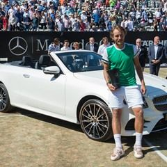 Lucas Pouille of France wins a Mercedes-Benz E400 4matic Cabriolet at the ATP Tennis Final