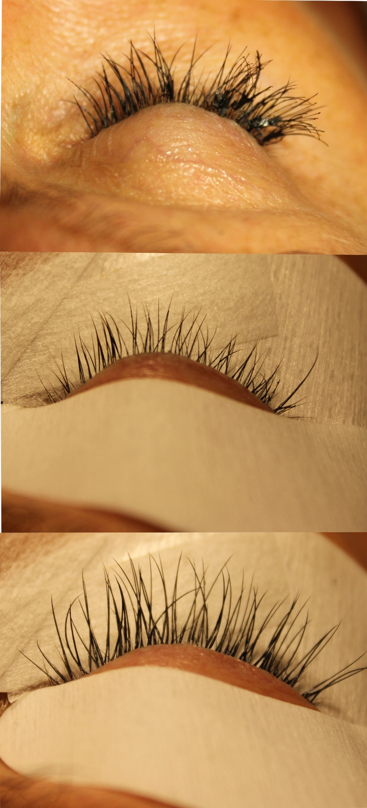 Top picture are cluster lashes done, the middle shows natural lashes, and the bottom is a new application of eyelash extensions