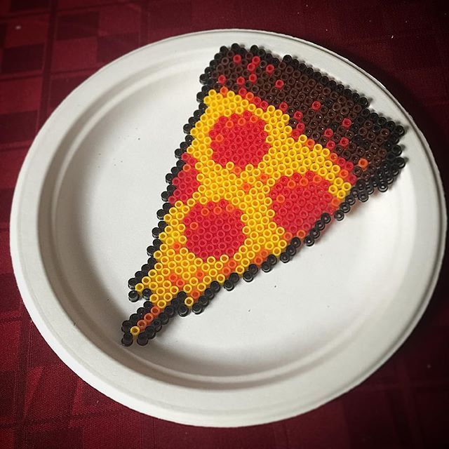 Pizza slice perler beads by  sewersurfer85