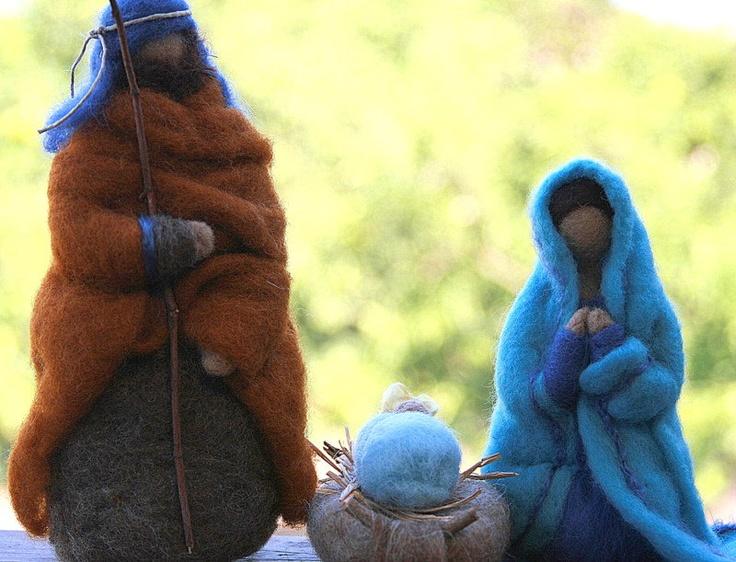 Needle Felted Nativity Set - Waldorf Inspired - Made to Order. $85.00, via Etsy.